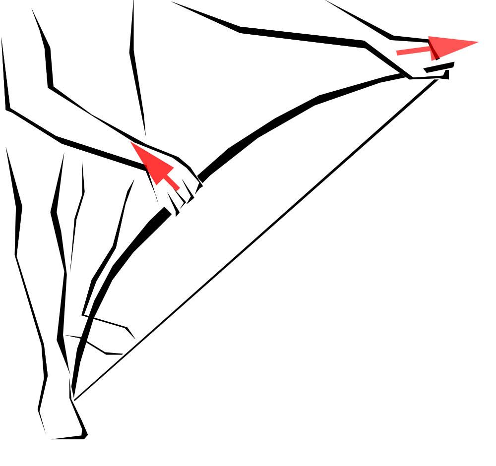 Utilisation, stockage et entretien bander un arc en poucant et tirant